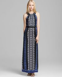 Twelfth Street Cynthia Vincent Blue Maxi Dress Leather Racerback