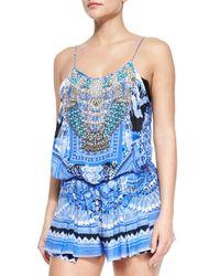 Camilla Blue Beaded Printed Jersey Short Romper