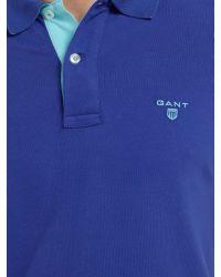 GANT Blue Contrast Collar Polo Top for men