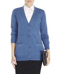 Qi - Blue V-Neck Cashmere Knit Boyfriend Cardigan - Lyst