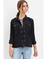 Forever 21 | Black Collared Utility Jacket | Lyst