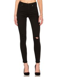 Citizens of Humanity | Black Rocket Velveteen High Rise Skinny Jeans | Lyst
