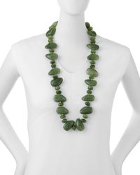 Kenneth Jay Lane | Green Multi-shape Jade Pebble Necklace | Lyst