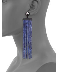 Marc By Marc Jacobs Blue Acanthus Chain Fringe Earrings