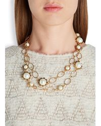 Tory Burch - Metallic 16kt Gold-plated Faux Pearl Necklace - Lyst