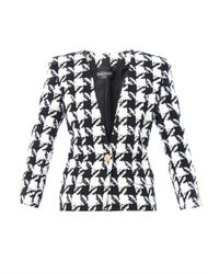 Balmain Black Houndstooth Collarless Jacket