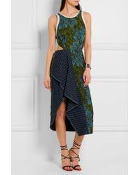 3.1 Phillip Lim | Blue Cutout Pinstriped Linen-paneled Jacquard Dress | Lyst