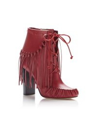 Elie Saab Red Fringed Lace-up Bootie