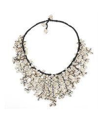 Aeravida - Metallic Handmade Trendy White Pearl V-shape Chandelier Necklace - Lyst