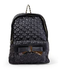 Betsey Johnson | Black Quilted Heart Backpack | Lyst