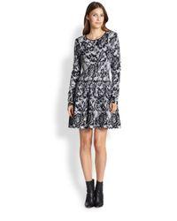 DKNY - Black Knit Printed Dress - Lyst