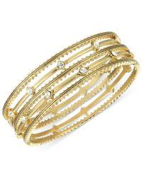 The Sak | Metallic Gold-tone Crystal Accent Textured Bangle Bracelets | Lyst