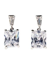 CZ by Kenneth Jay Lane | Metallic Silver-tone Emerald Cut Cubic Zirconia Earrings | Lyst