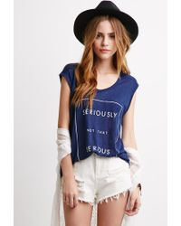 f957200078 Forever 21. Women s Blue Not Serious Linen Tank You ve Been Added To The  Waitlist