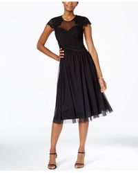 Alex Evenings | Black Petite Illusion Embellished A-line Dress | Lyst