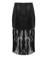 Miss Selfridge Black Fringed Leather Skirt