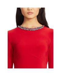 Ralph Lauren - Red Jeweled-neckline Jersey Dress - Lyst