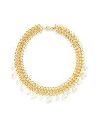 Kenneth Jay Lane | Metallic Glass Pearl Drop Interlocked Chain Necklace | Lyst
