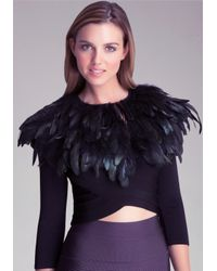 Bebe Black Feather Capelet