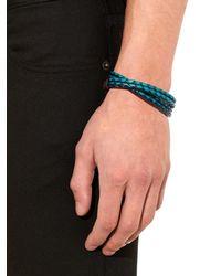 Paul Smith - Blue Leather Wrap Bracelet for Men - Lyst