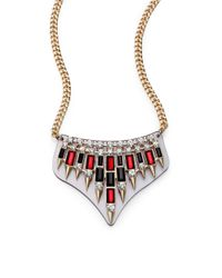 ABS By Allen Schwartz - Metallic Box Of Jewels Spiked Plate Bib Necklace - Lyst