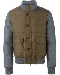 Eleventy Brown Contrast Sleeve Padded Jacket for men
