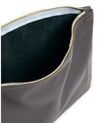 American Apparel - Gray Leather Clutch - Lyst
