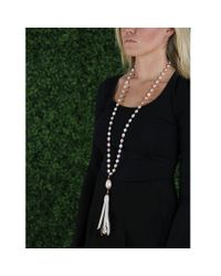 Jordan Alexander - Pink Metallic And Pearl Tassle Necklace - Lyst