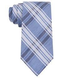 Calvin Klein - Blue Denim Faded Plaid Slim Tie for Men - Lyst