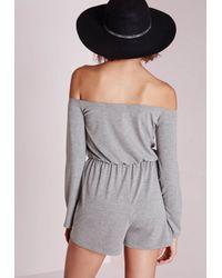 Missguided - Gray Jersey Bardot Romper Grey - Lyst