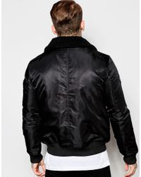 Good For Nothing - Black Bomber Jacket With Detachable Collar for Men - Lyst
