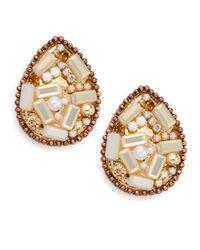 Gemma Simone | Metallic Mosaic Stone Teardrop Earrings/goldtone | Lyst
