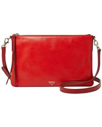 Fossil Red Sydney Leather Top Zip Crossbody