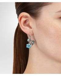 Bottega Veneta Blue Aquamarine Turquoise Crisopraso Oxidized Silver Earrings