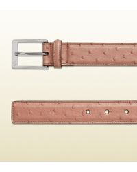 Gucci - Pink Ostrich Belt With Square Buckle for Men - Lyst