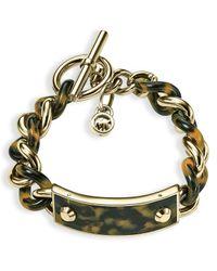 Michael Kors - Metallic Tortoise Print Curb Chain Toggle Bracelet - Lyst