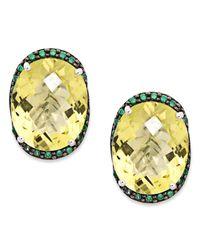 Macy's | Metallic Sterling Silver Earrings, Lemon Quartz (18-5/8 Ct. T.w.) And Green Swarovski Zirconia (7/8 Ct. T.w.) Omega Stud Earrings | Lyst