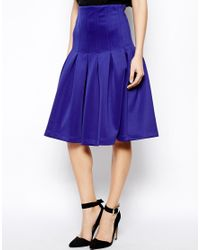 ASOS - Blue Midi Scuba Skirt With Pleats - Lyst