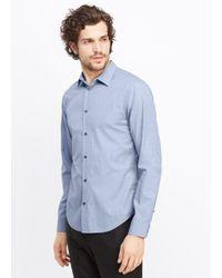 Vince Blue Lightly Textured Button Up for men