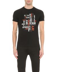 Armani Jeans | Black Authentic Denim Brand Stretch-cotton T-shirt for Men | Lyst