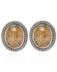 Stephen Dweck | Metallic Silver Oval Quartz And Diamond Clip-on Earrings | Lyst