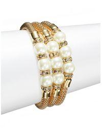 Catherine Stein | Metallic Faux Pearl Goldtone Mesh Bracelets | Lyst