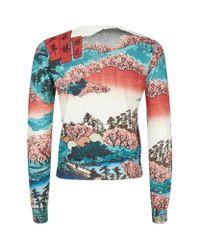 Carven   Red Crane Bird Print Sweater   Lyst