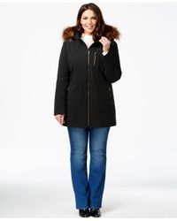 Calvin Klein | Black Plus Size Faux-fur-hood Zip-front Coat | Lyst
