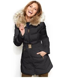 Laundry by Shelli Segal - Gray Faux-Fur-Hooded Down Puffer Coat - Lyst