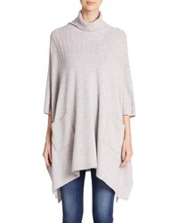 Saks Fifth Avenue | Gray Cashmere Turtleneck Poncho | Lyst