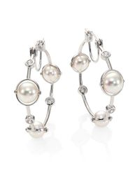 Majorica | Metallic 8mm White Pearl & Sterling Silver Station Hoop Earrings/1.2 | Lyst