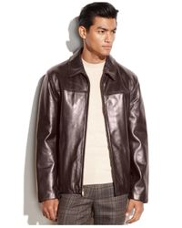 Cole Haan Red Smooth Leather Moto Jacket for men