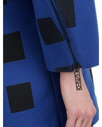 KENZO Blue Wool Felt And Shearling Coat for men