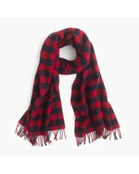 J.Crew | Red Buffalo Check Plaid Scarf | Lyst